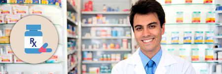 photo pharmacist in front of pharmacy